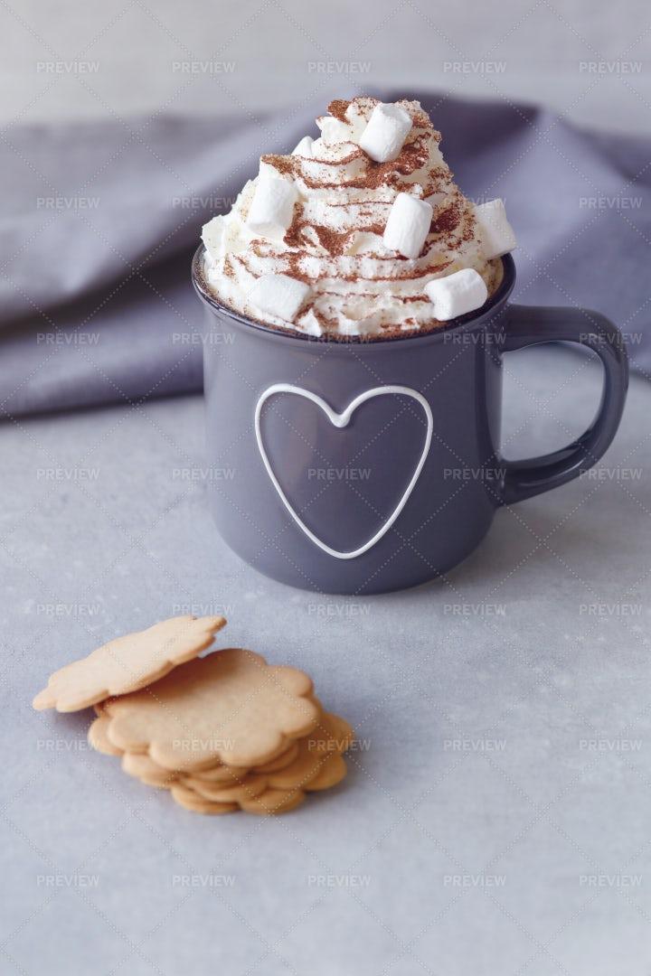 Hot Chocolate With Cream: Stock Photos