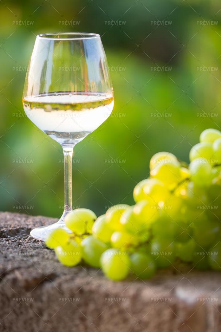 White Wine And White Grapes: Stock Photos