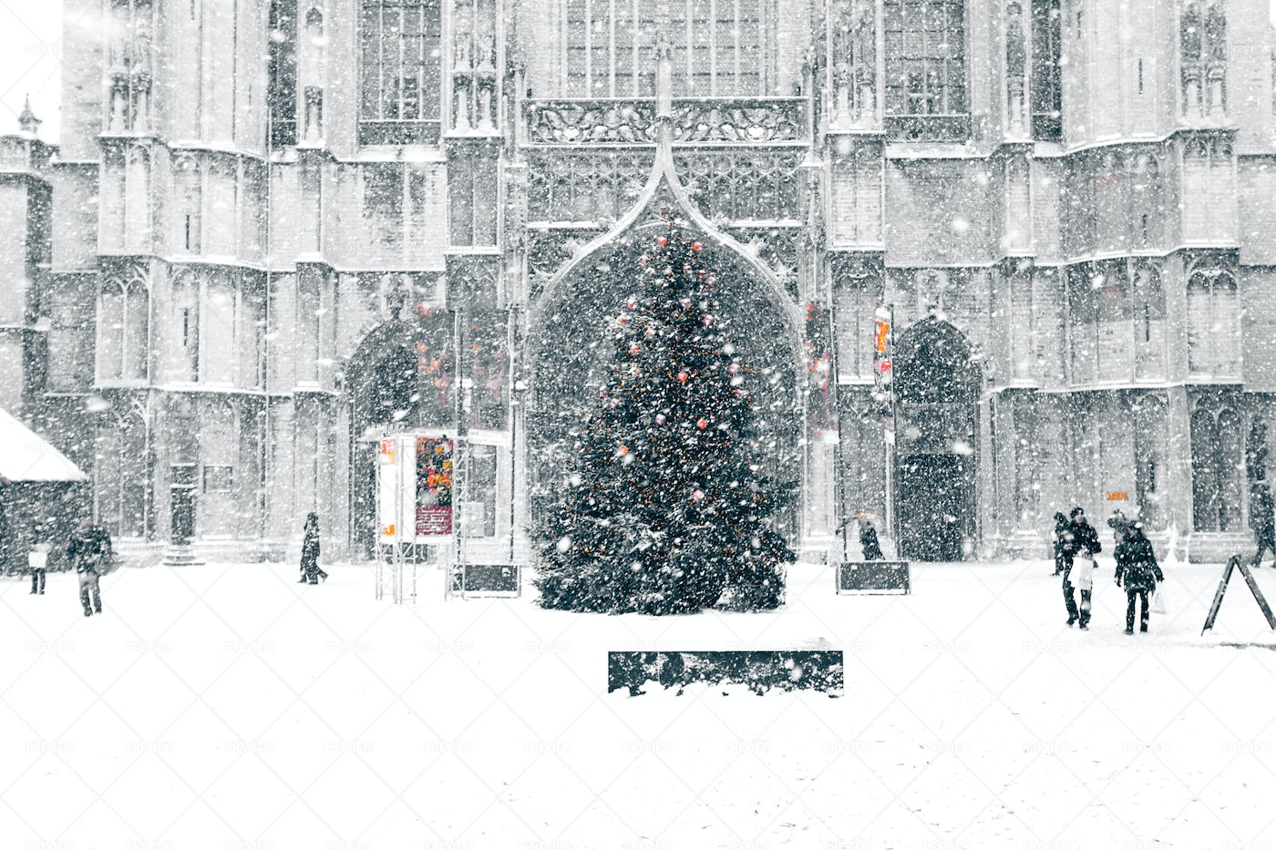 Snowstorm In Town: Stock Photos