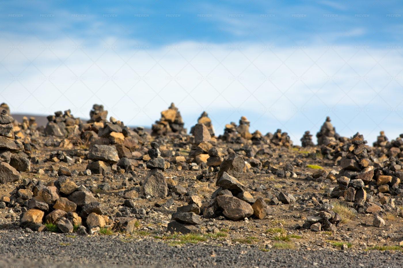 Landscape With Stone Pyramids: Stock Photos