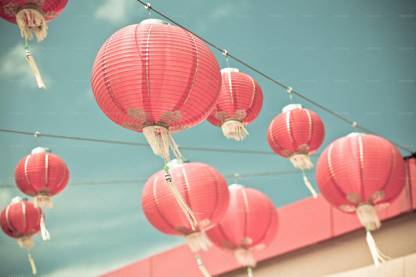 Pink Chinese Paper Lanterns: Stock Photos