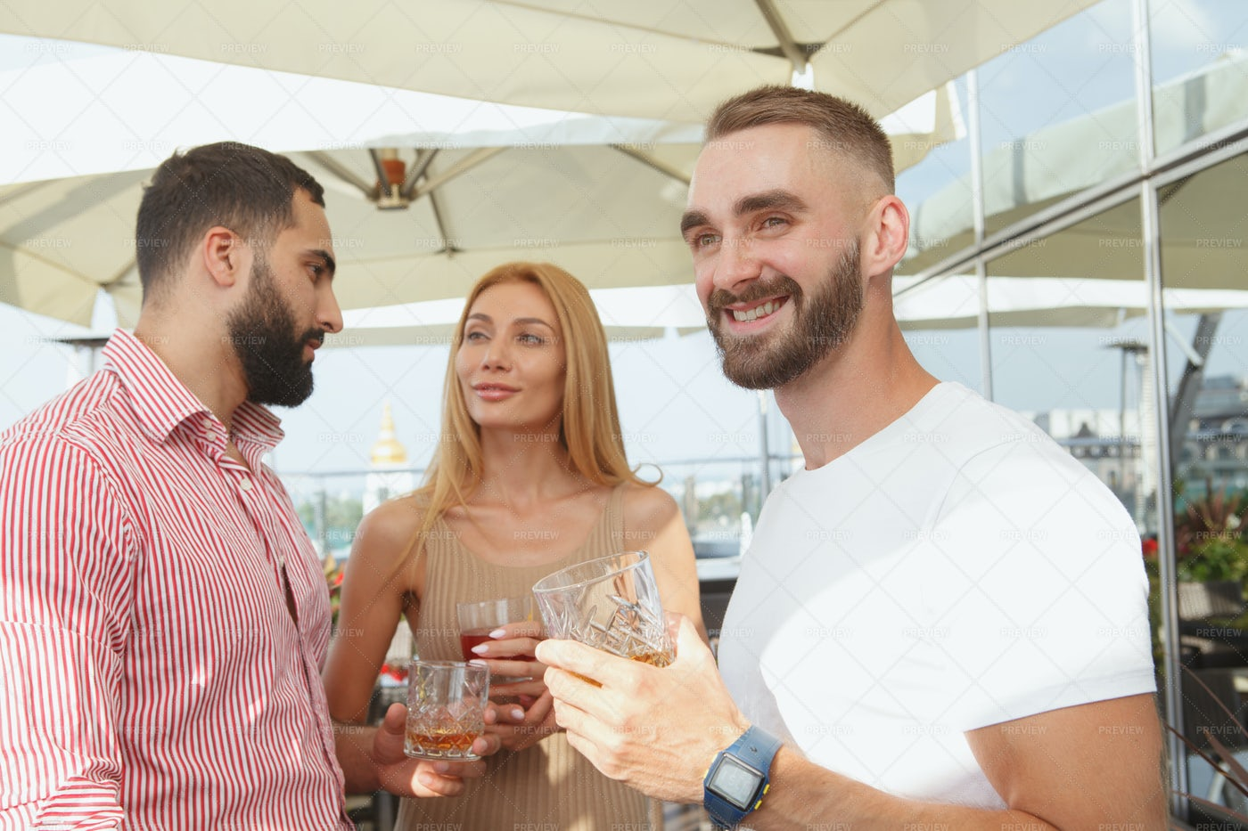 Friends At Bar A Terrace: Stock Photos