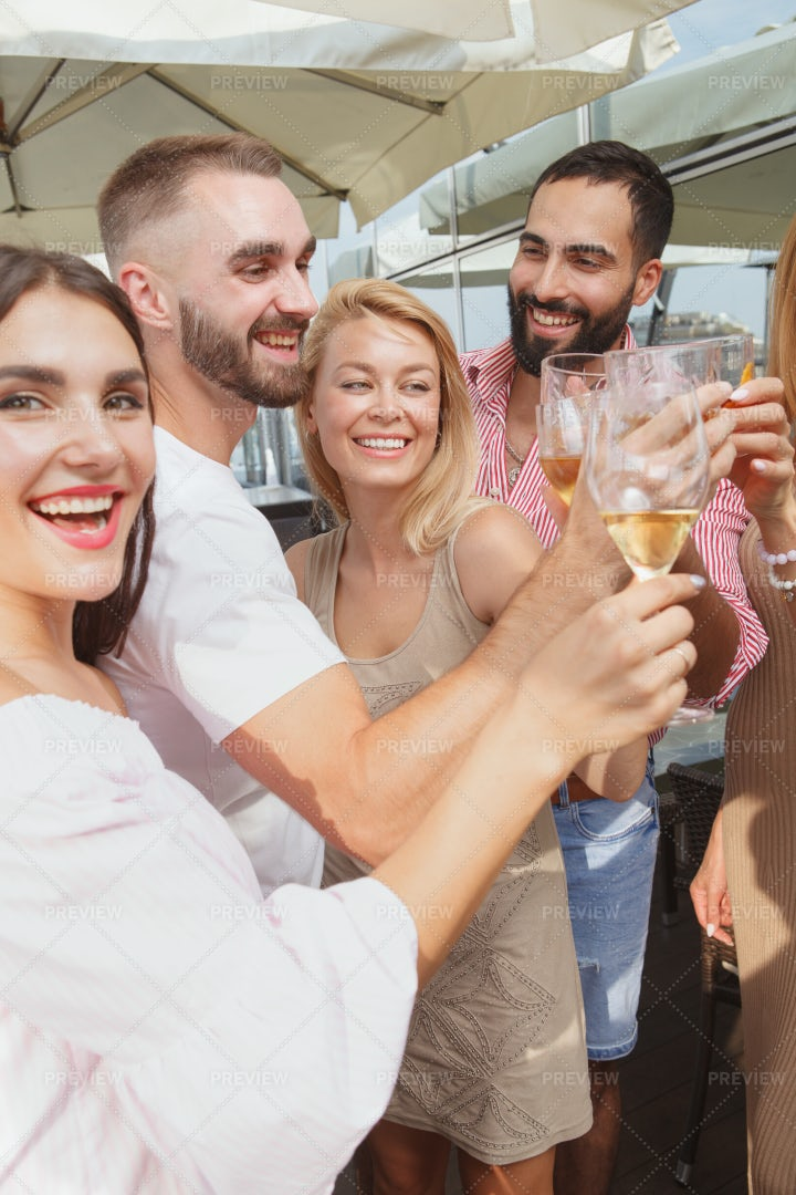 Friends Having Fun At The Bar: Stock Photos