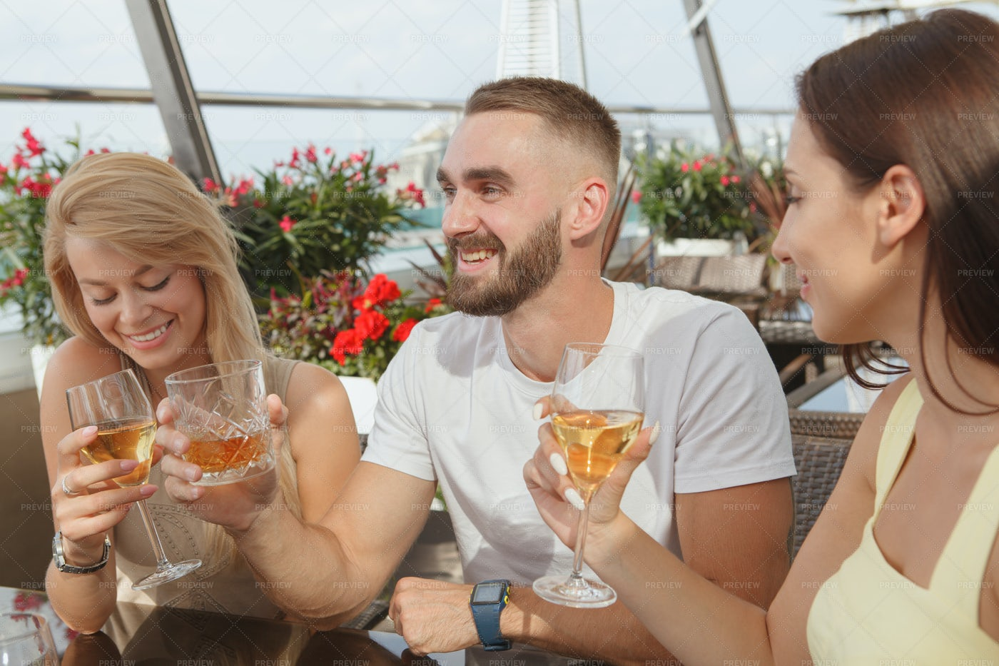 Celebrating At The Bar: Stock Photos