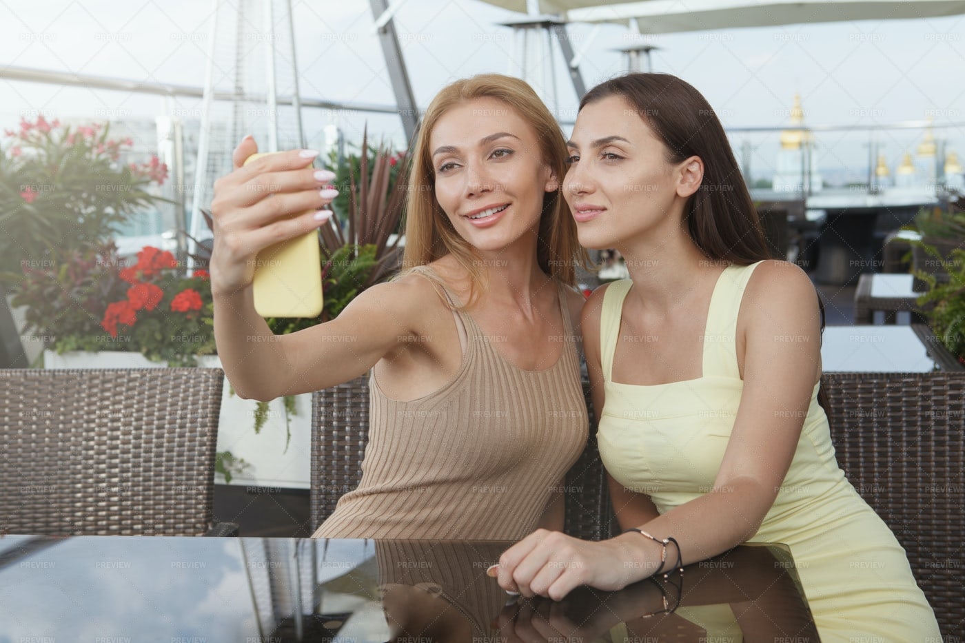 Selfie At The Restaurant: Stock Photos