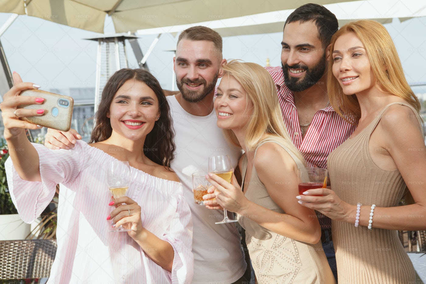 Selfies And Drinks: Stock Photos