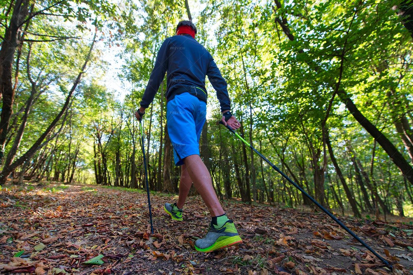 Man Practicing Nordic Walking: Stock Photos