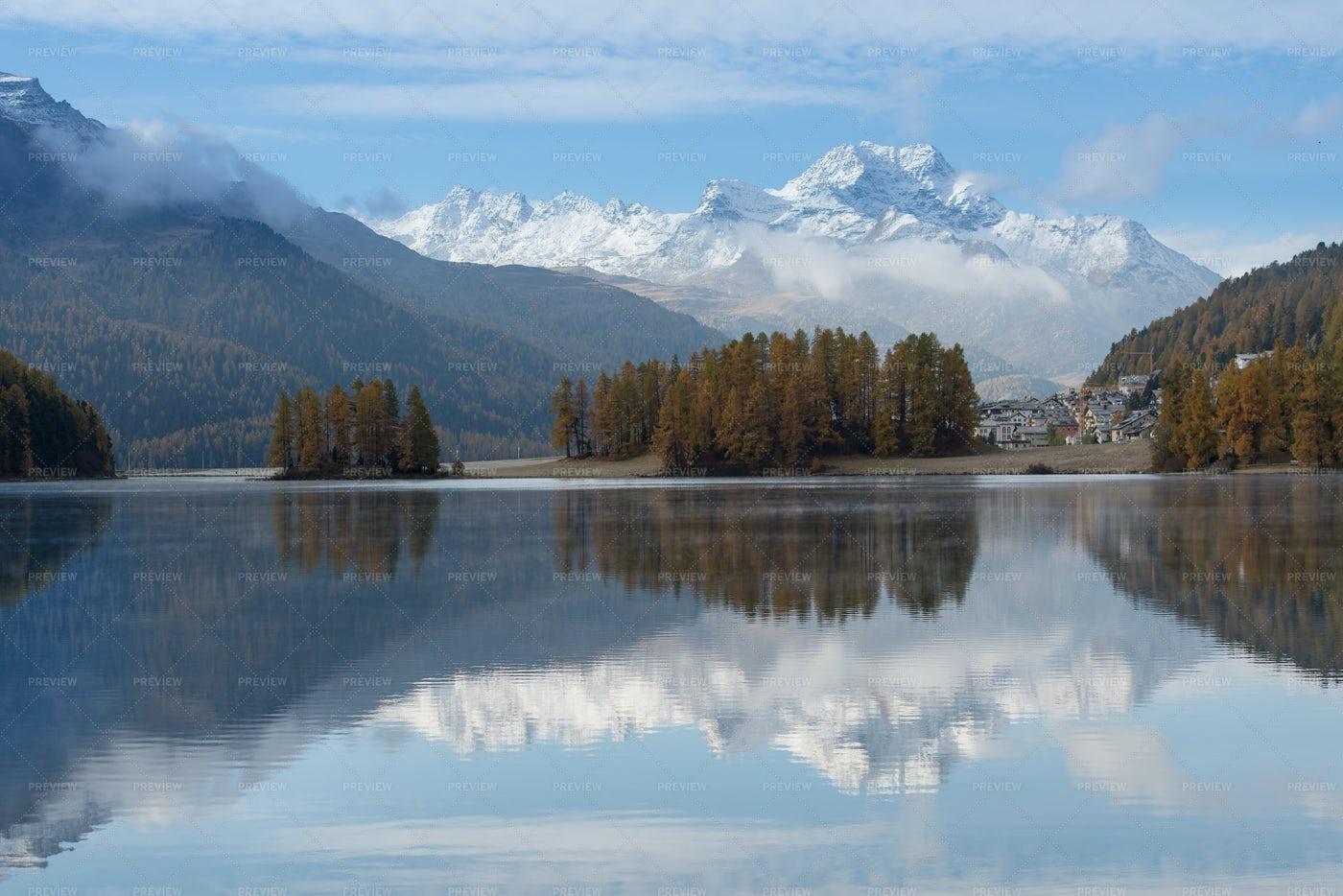 Swiss Alps Village Reflection: Stock Photos