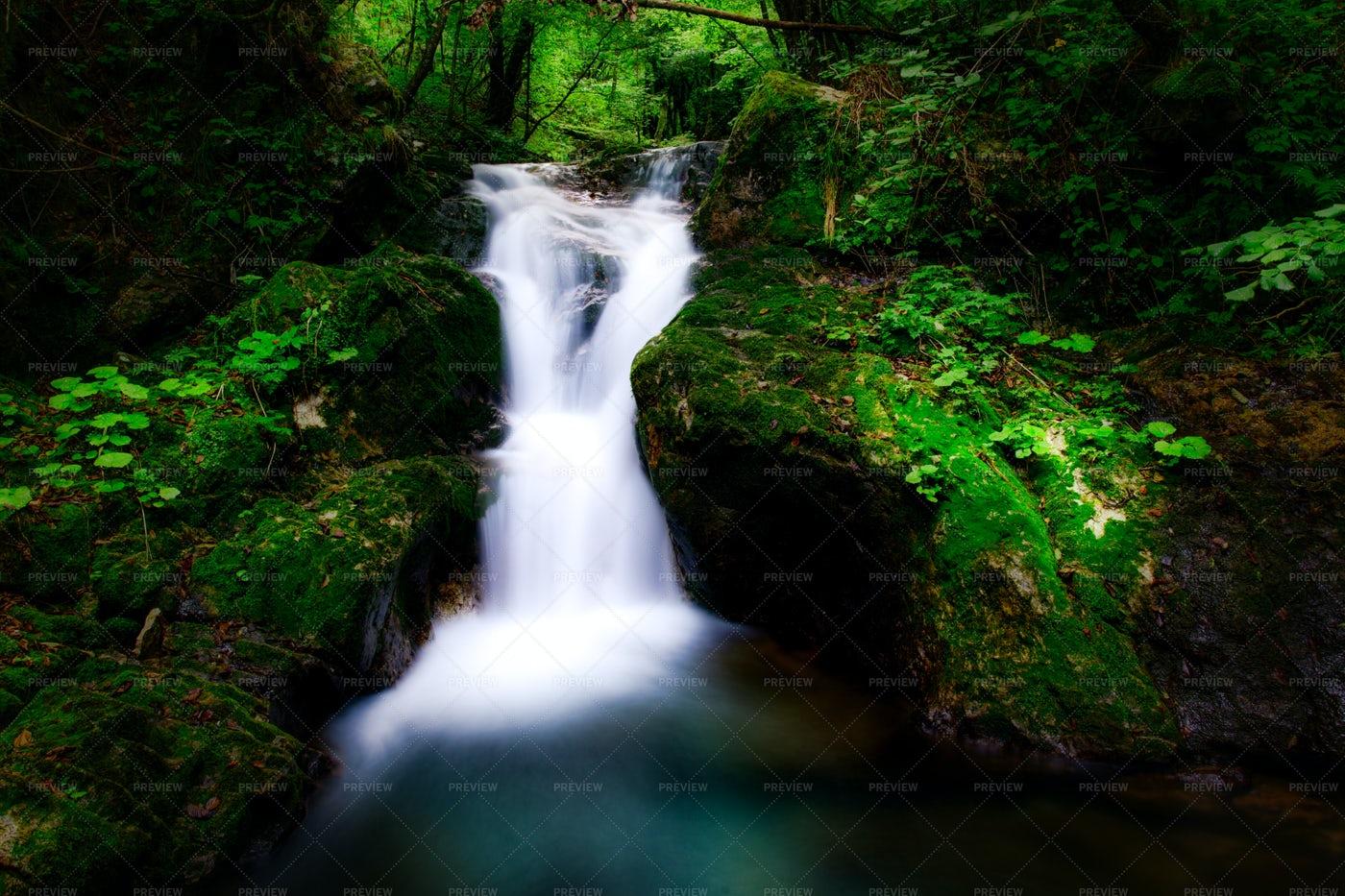 Woodland Waterfall Long Exposure: Stock Photos
