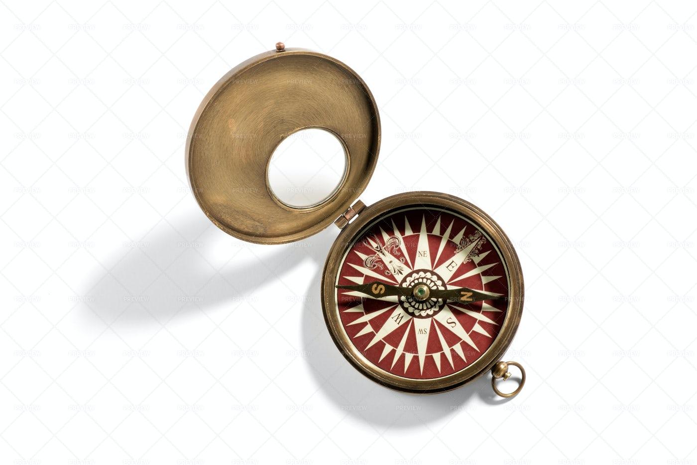 Vintage Portable Hand Compass: Stock Photos