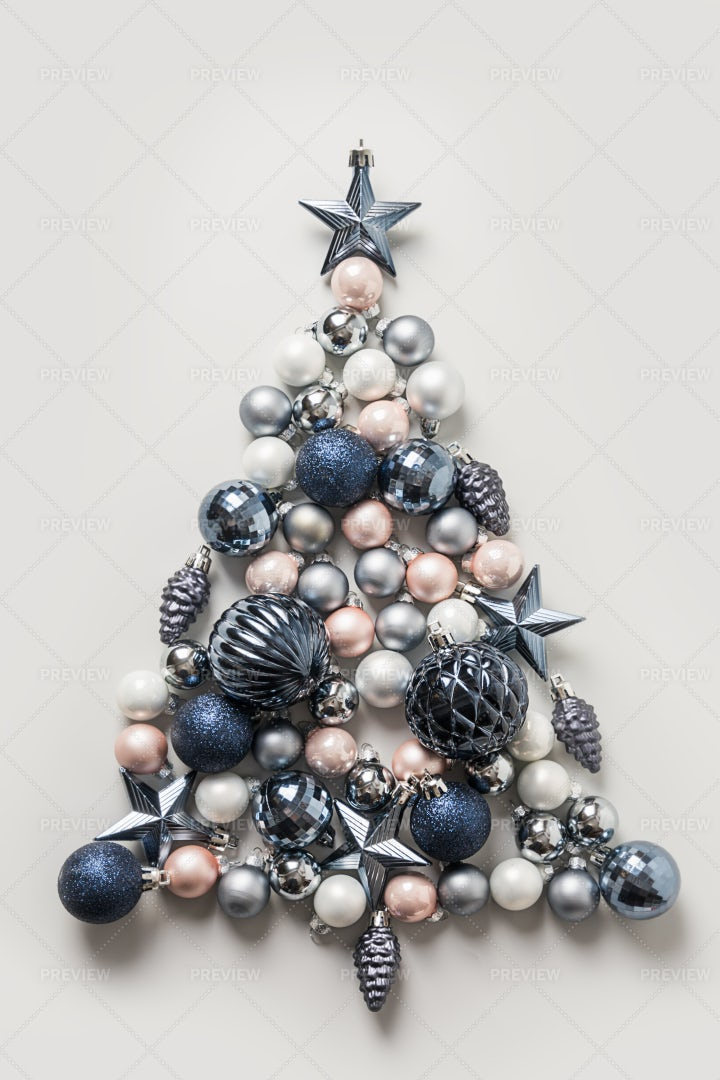 Christmas Tree Made Of Balls: Stock Photos