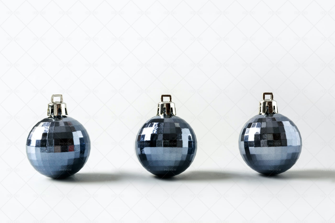 Three Blue Christmas Balls: Stock Photos
