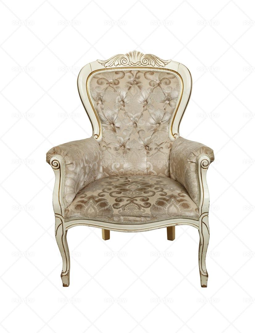 White Tufted Chesterfield Armchair: Stock Photos