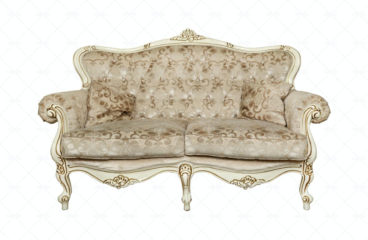 White Tufted Chesterfield Sofa: Stock Photos