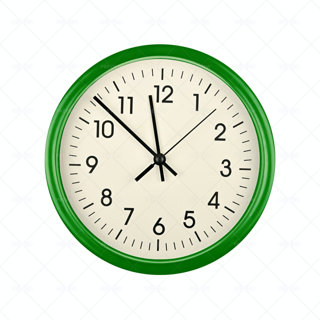 Green Wall Clock: Stock Photos
