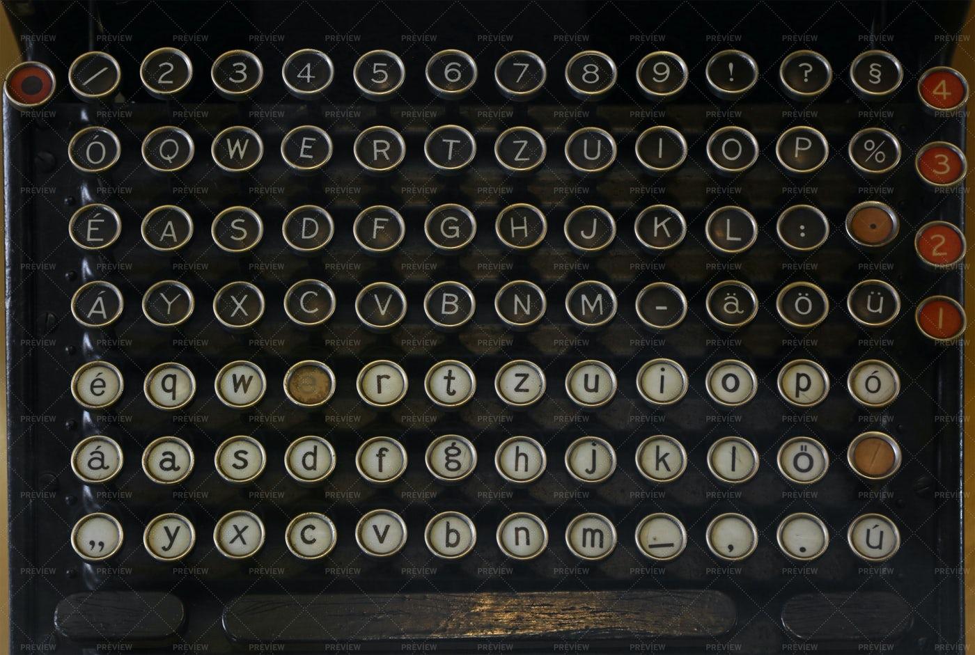 Keyboard Of A Vintage Typewriter: Stock Photos