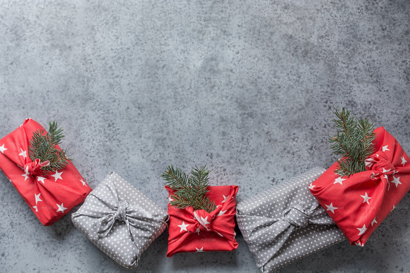 Christmas Gifts On Gray: Stock Photos