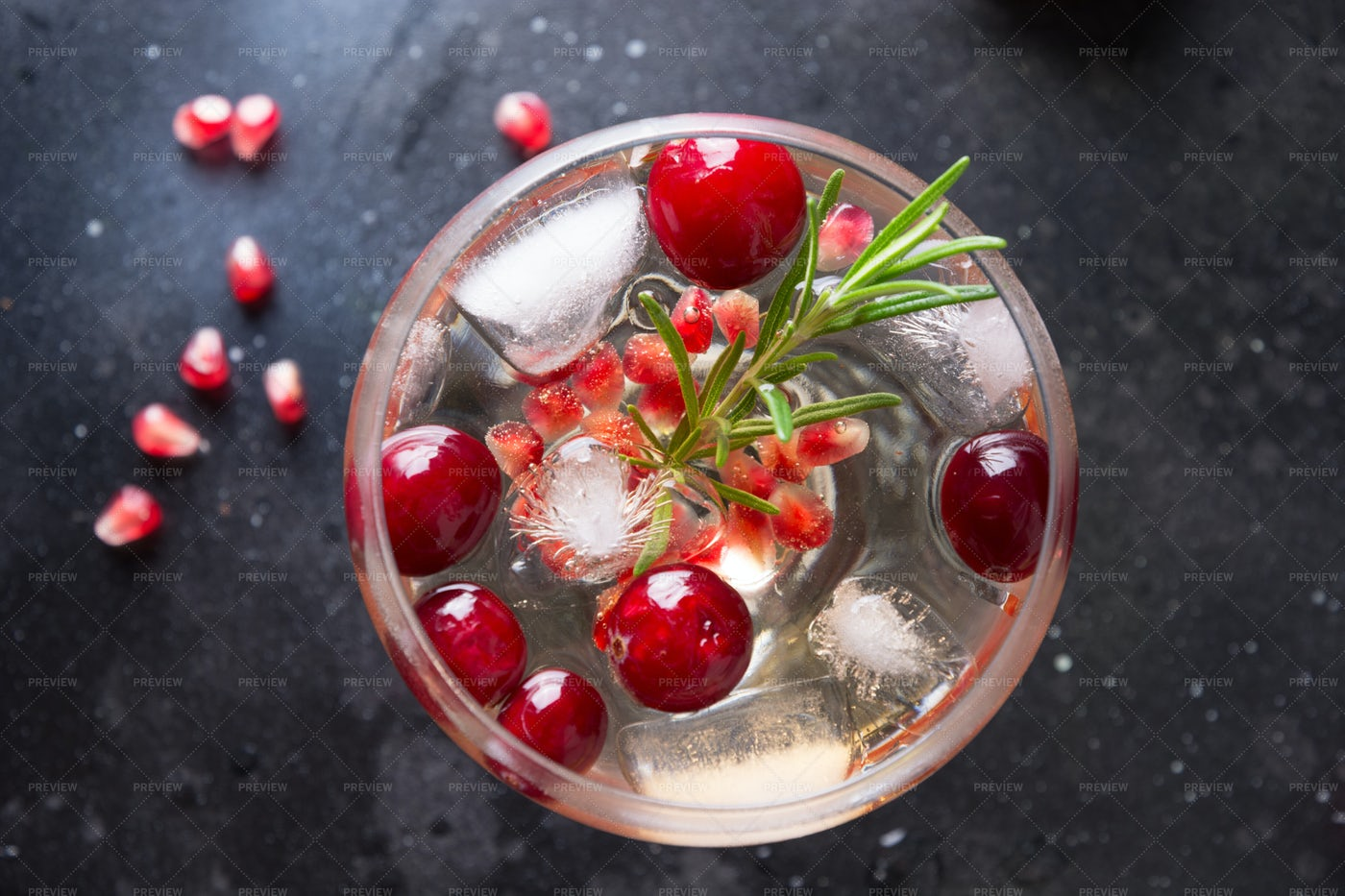 Icy Pomegranate Christmas Cocktail: Stock Photos
