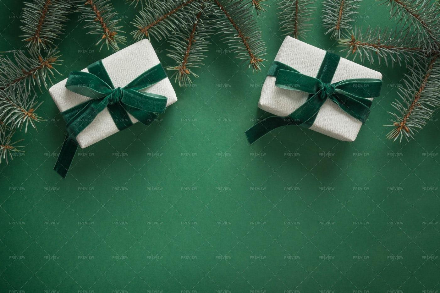Christmas Green Border: Stock Photos