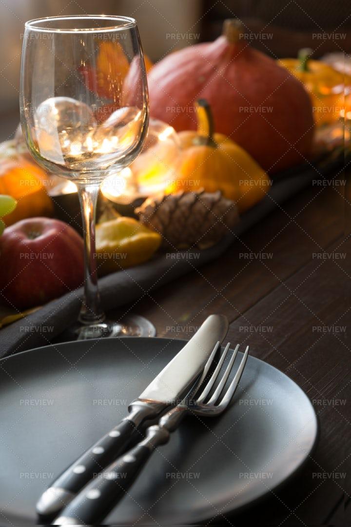 Autumn Dinner Table: Stock Photos
