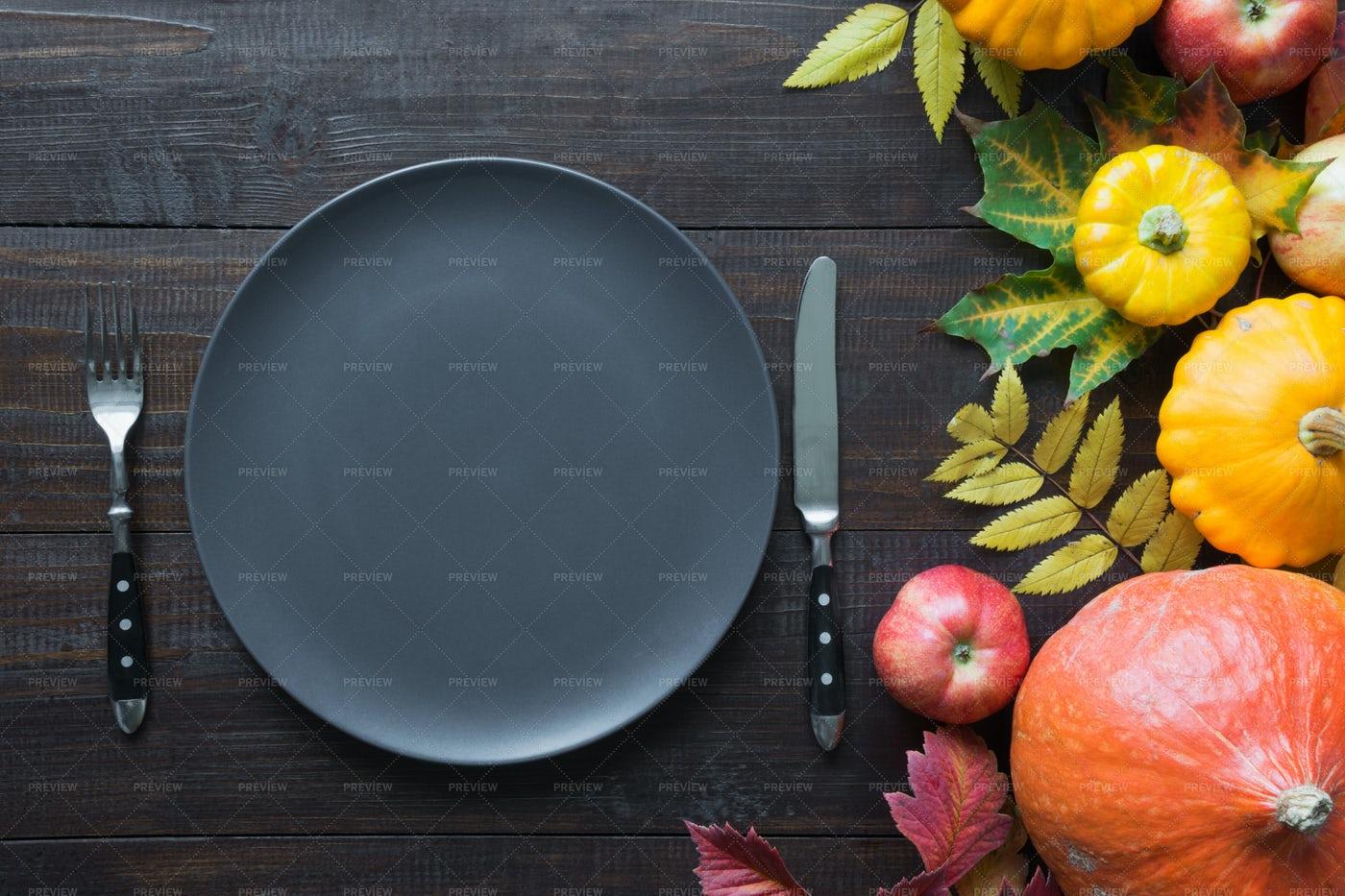 A Set Table In Autumn: Stock Photos