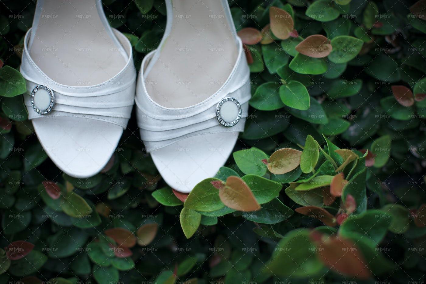 White Wedding Shoes: Stock Photos
