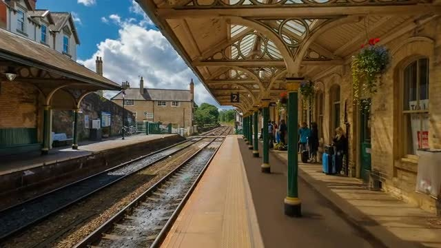 Old UK Victorian Train Station: Stock Video
