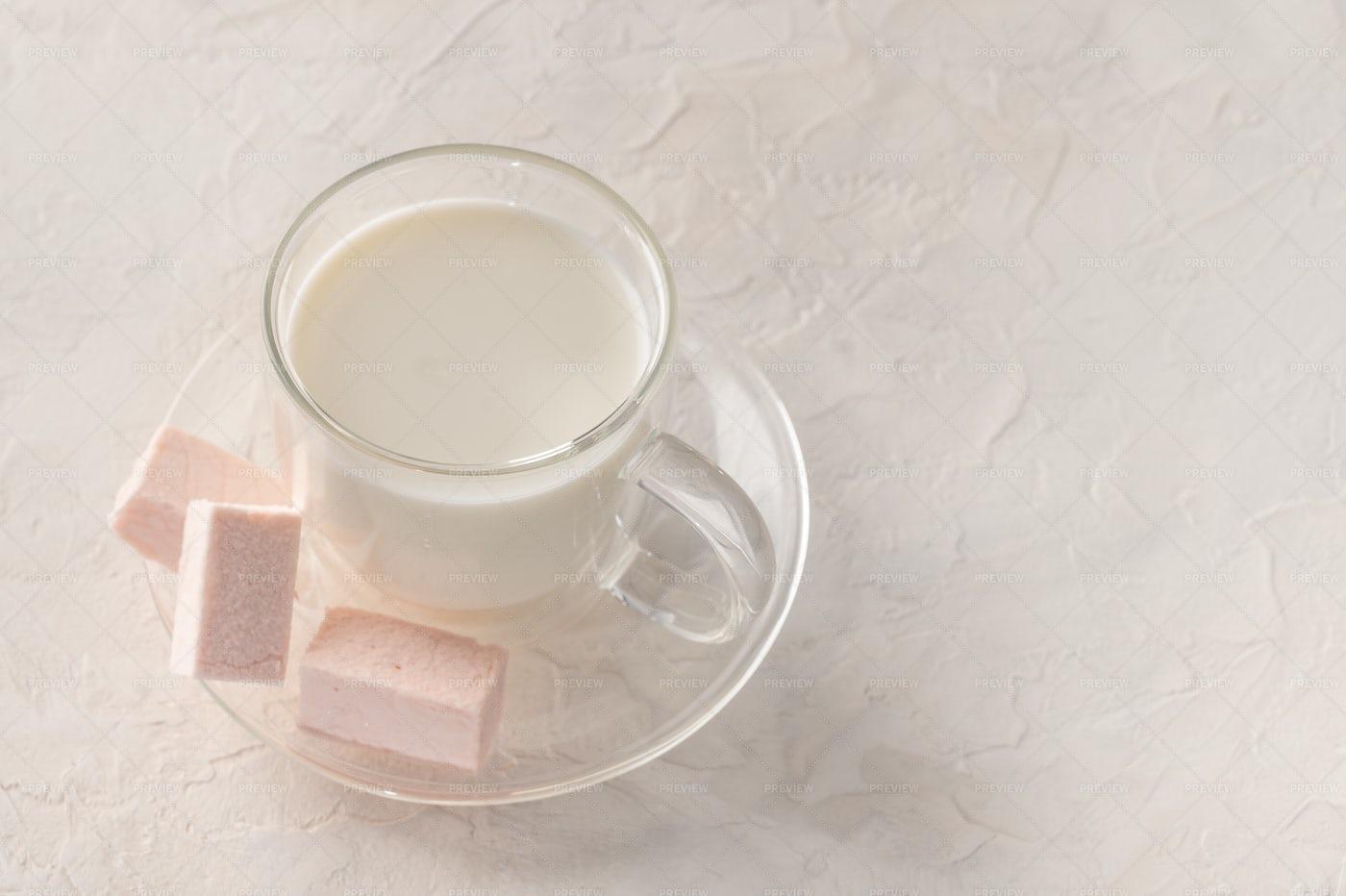 Milk In Transparent Cup: Stock Photos