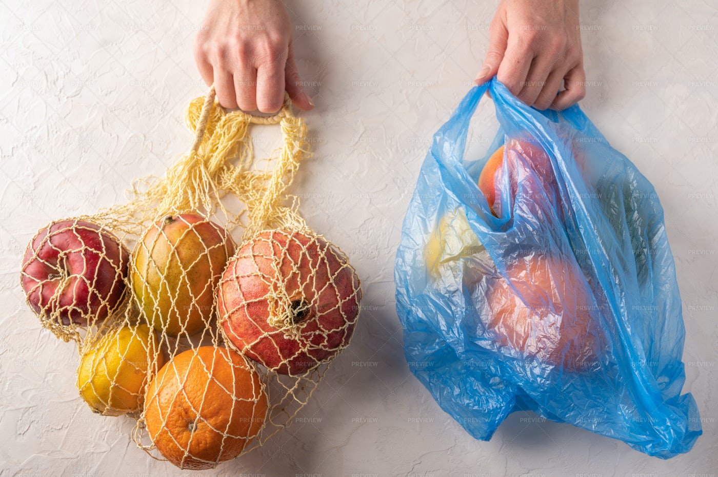 Plastic And Mesh Fruit Bags: Stock Photos
