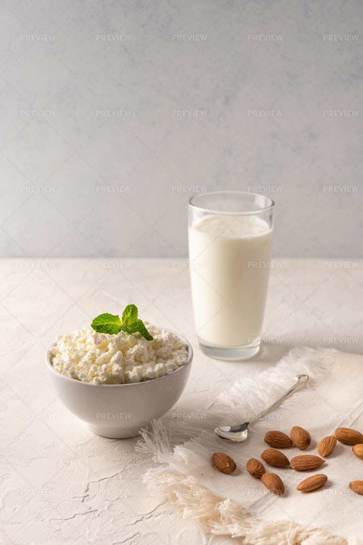 Cheese In A Bowl With Kefir: Stock Photos