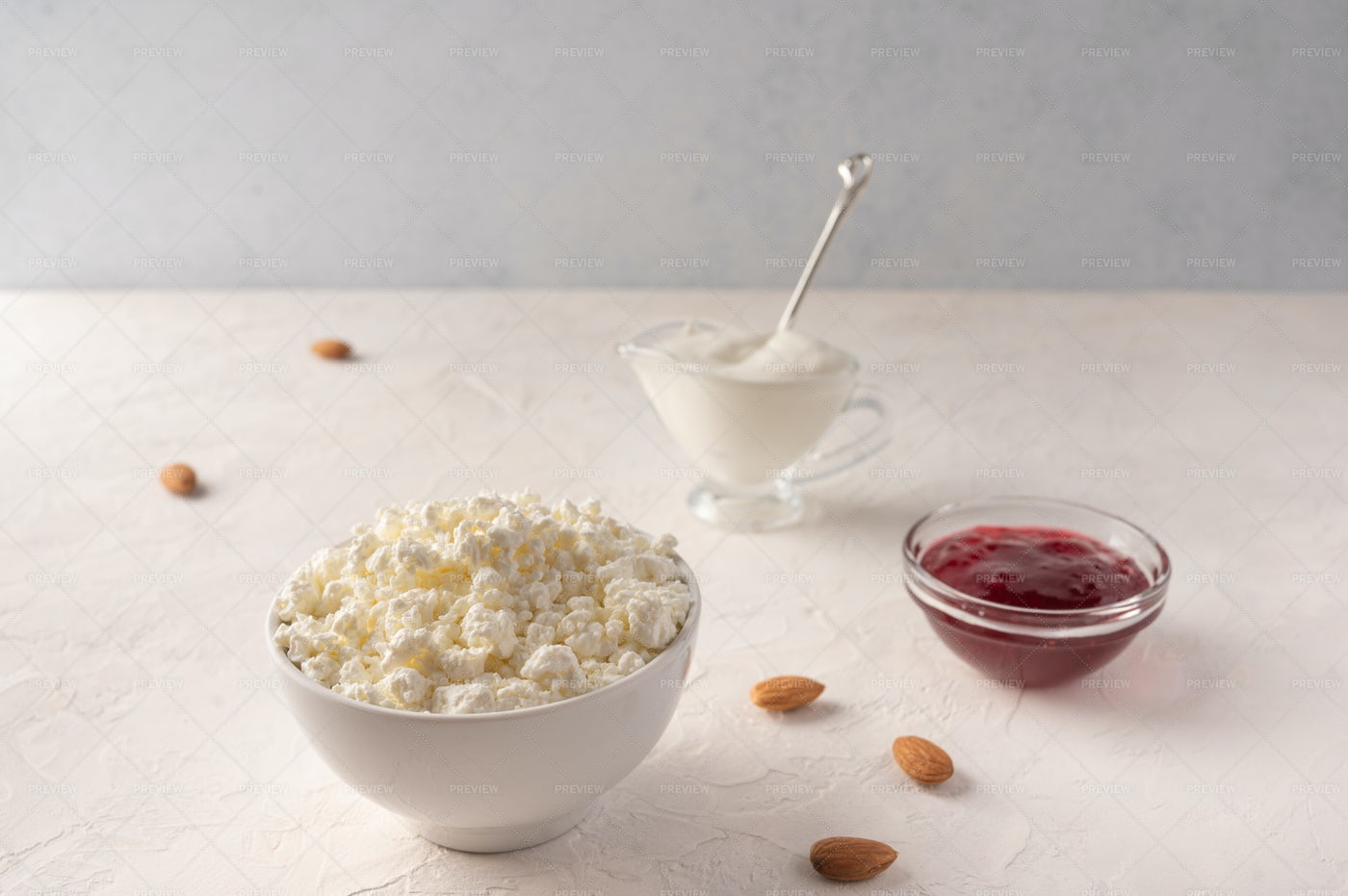 Bowl Of Cottage Cheese: Stock Photos