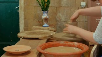 Female Potter Molding With Clay: Stock Video