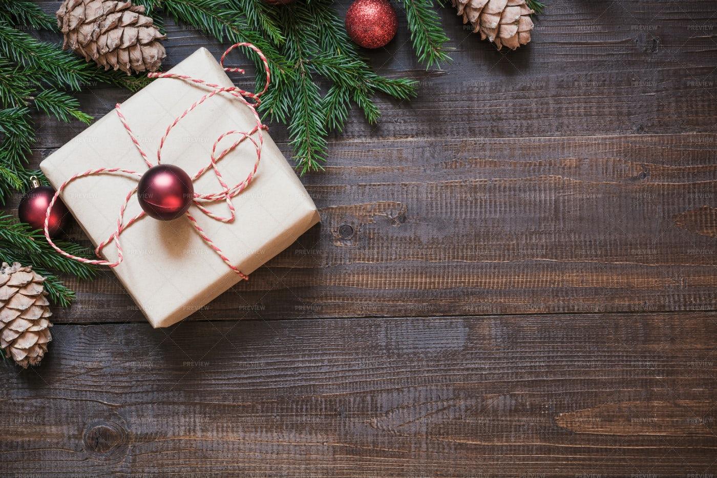 Christmas Gift On Wood: Stock Photos