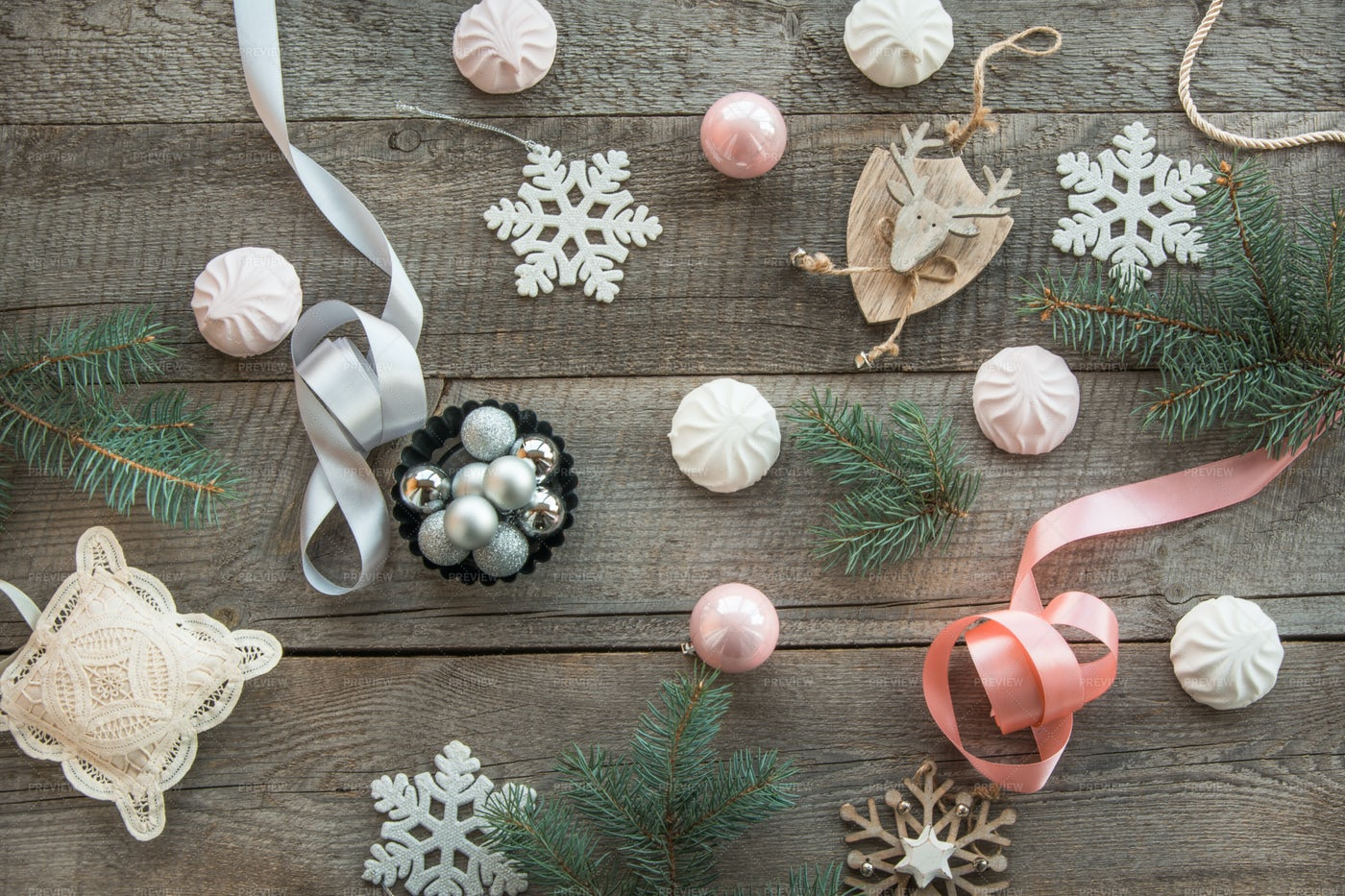 Pastel Christmas Decor: Stock Photos