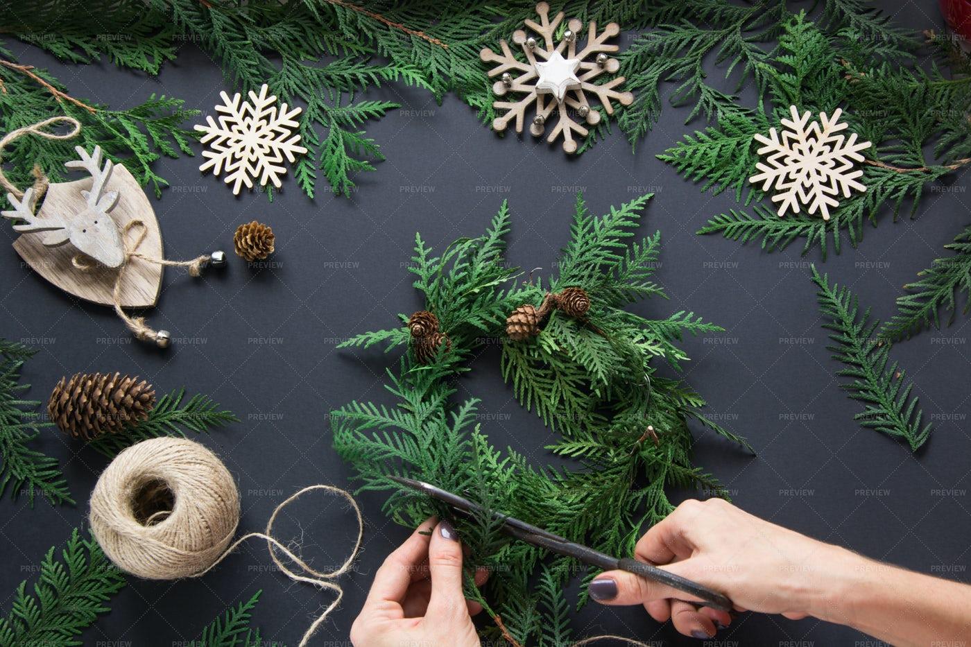 Preparing Christmas Decorations: Stock Photos