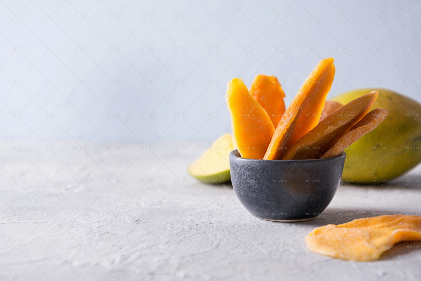 Fresh And Dried Mango Chips: Stock Photos