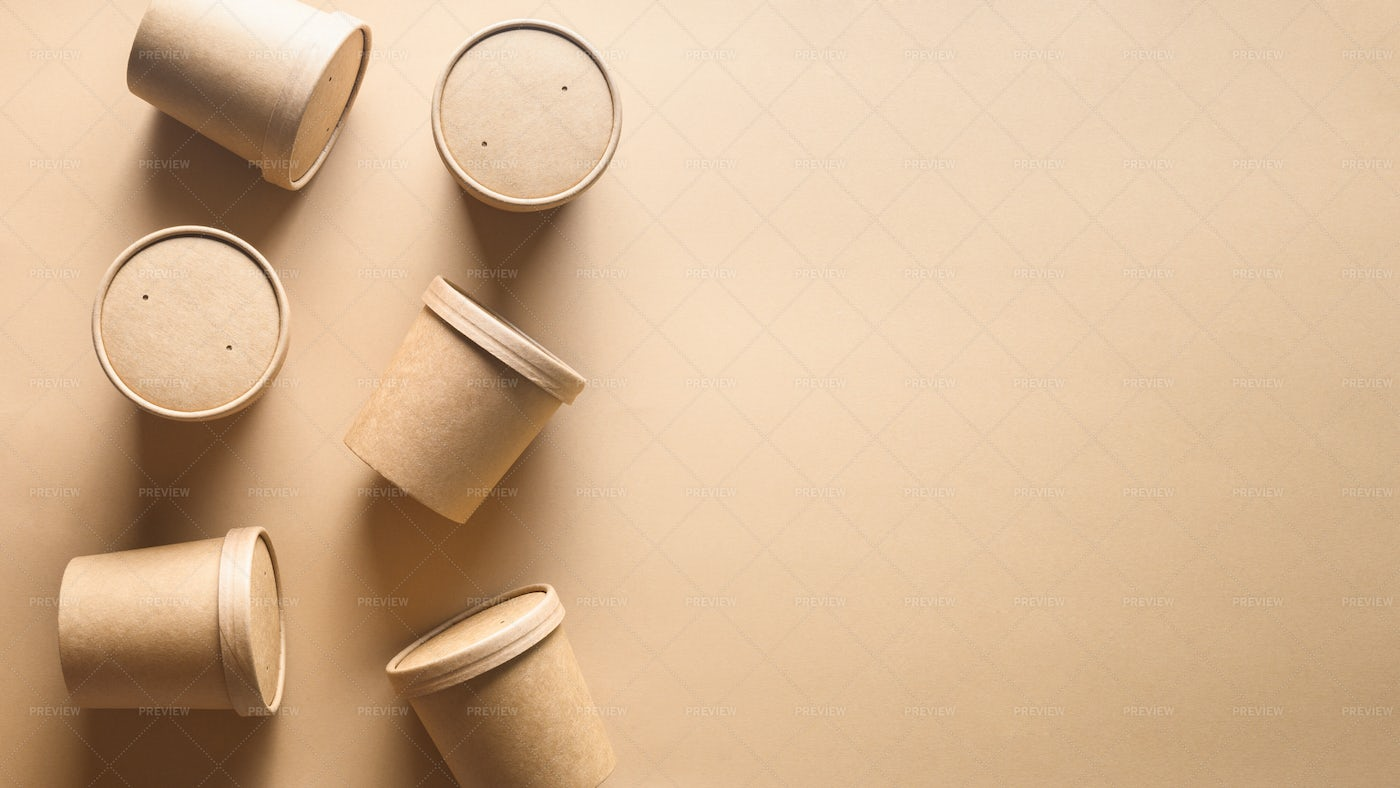 Craft Paper Soup Cups Background: Stock Photos