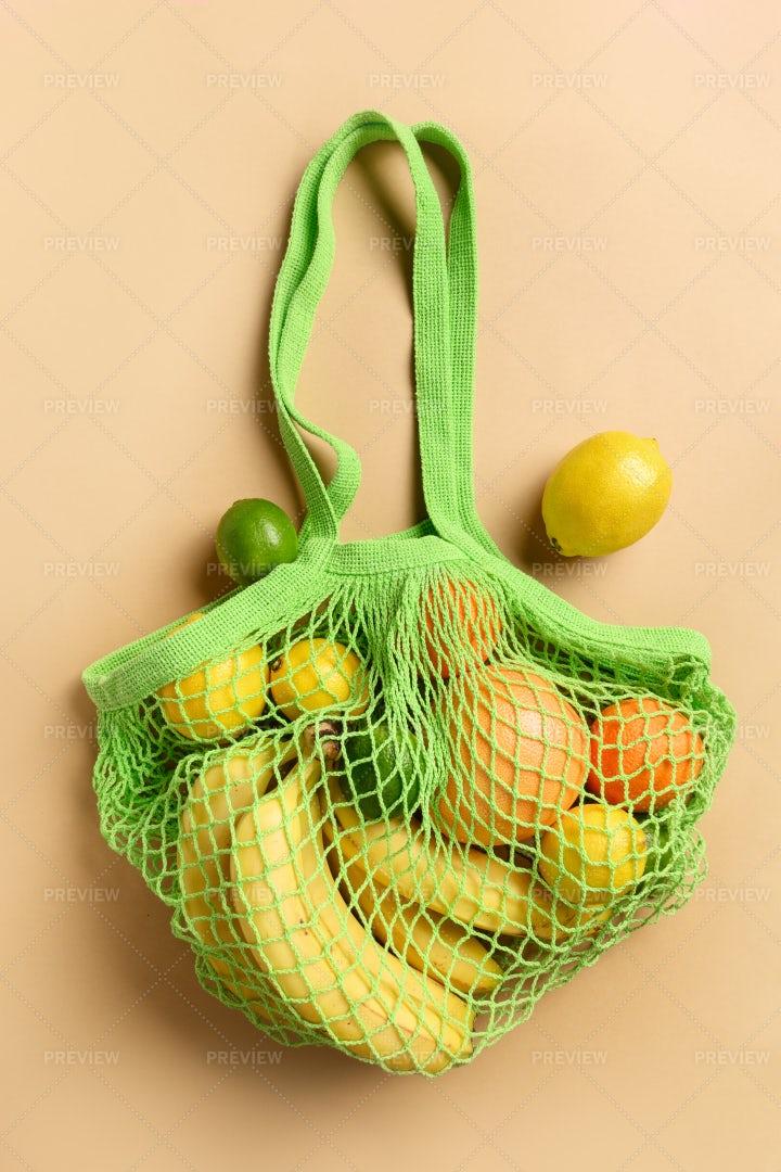 Green Bag And Fruits: Stock Photos