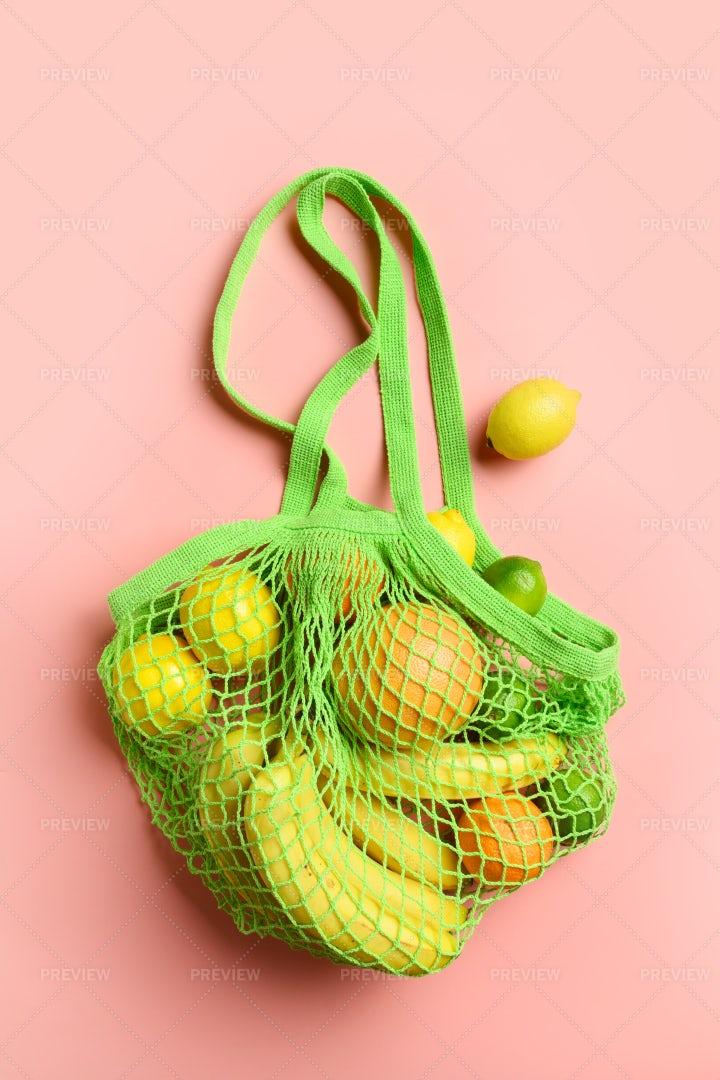 Mesh Bag With Fruits: Stock Photos