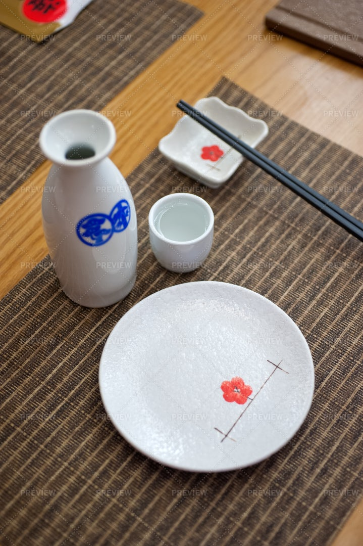 Japanese Style Table Set: Stock Photos