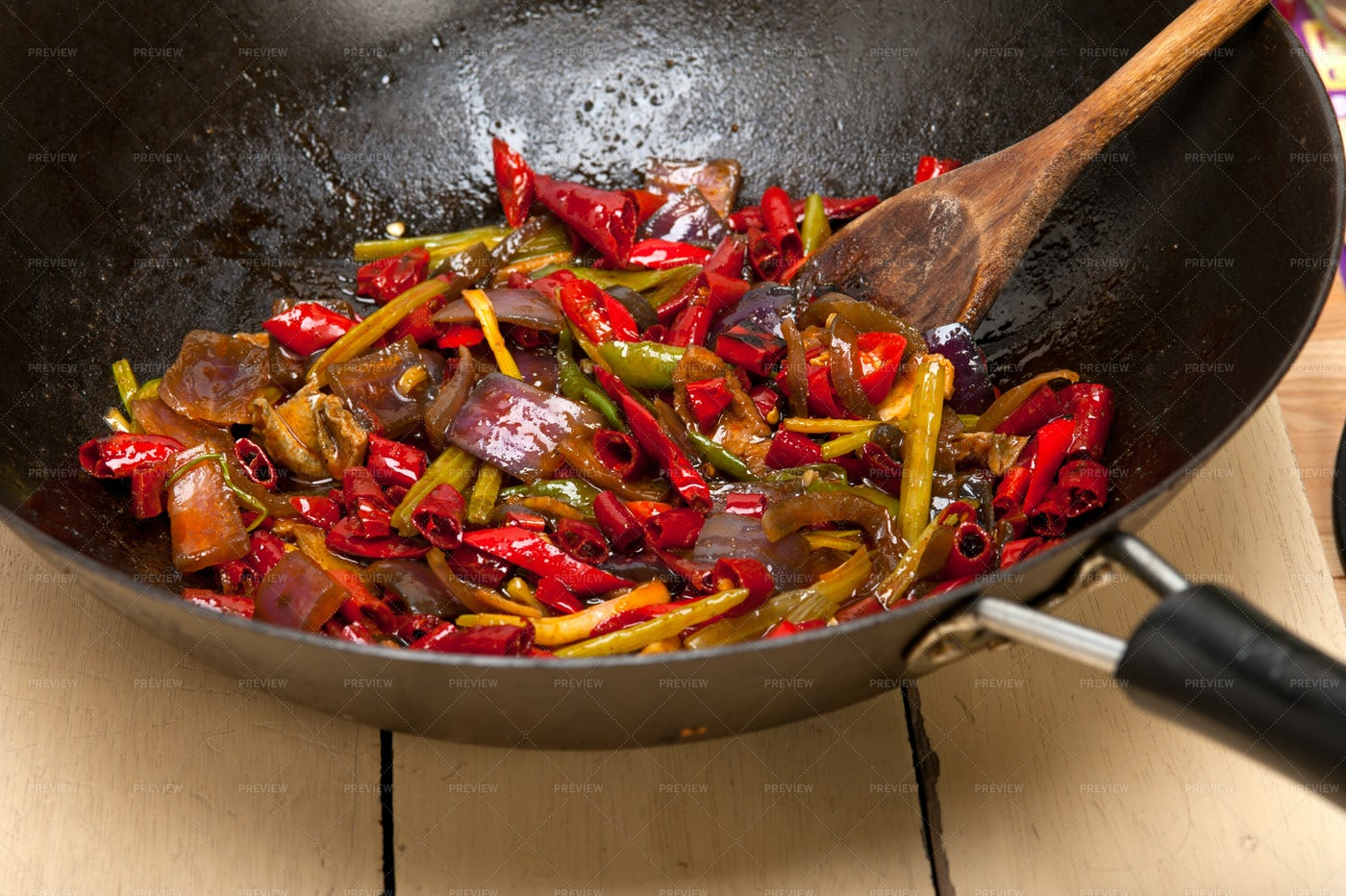 Wok Of Fried Vegetables: Stock Photos