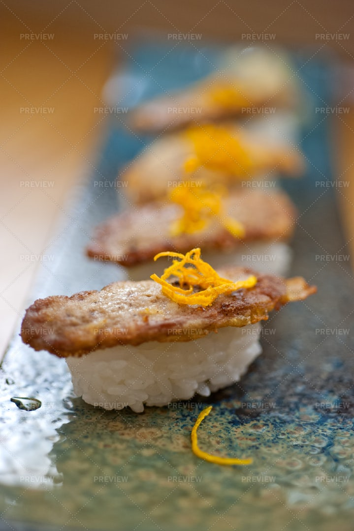 Fried Goose Liver Sushi: Stock Photos