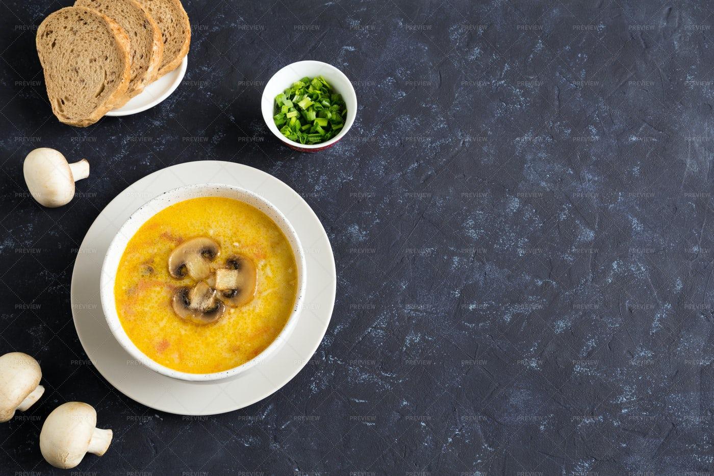 Champignon Soup In Bowl: Stock Photos