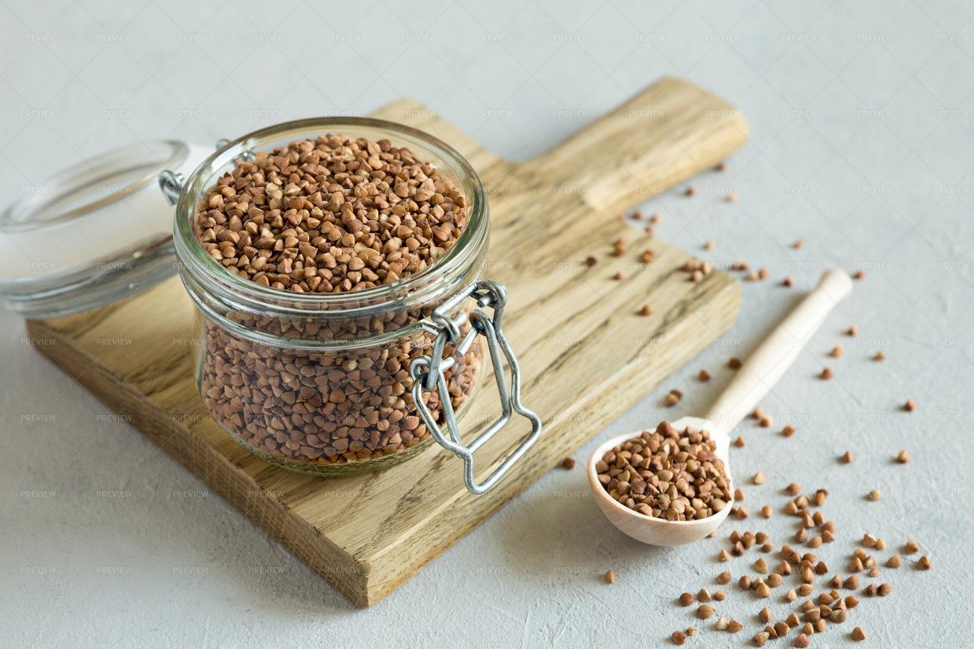 Buckwheat In Glass Jar: Stock Photos