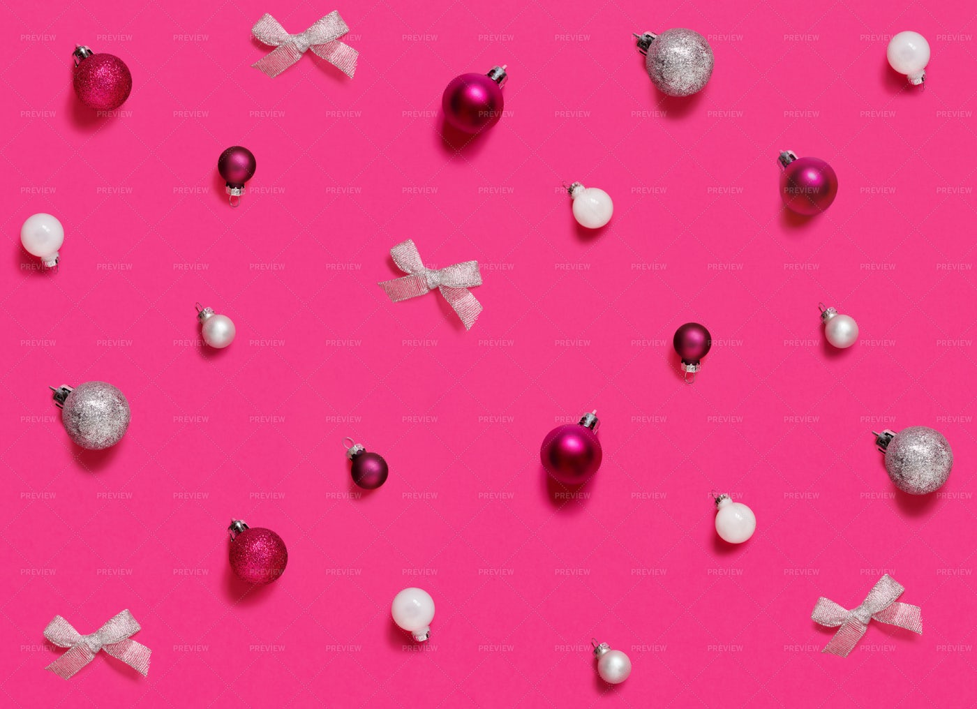Christmas Decorations On Pink: Stock Photos
