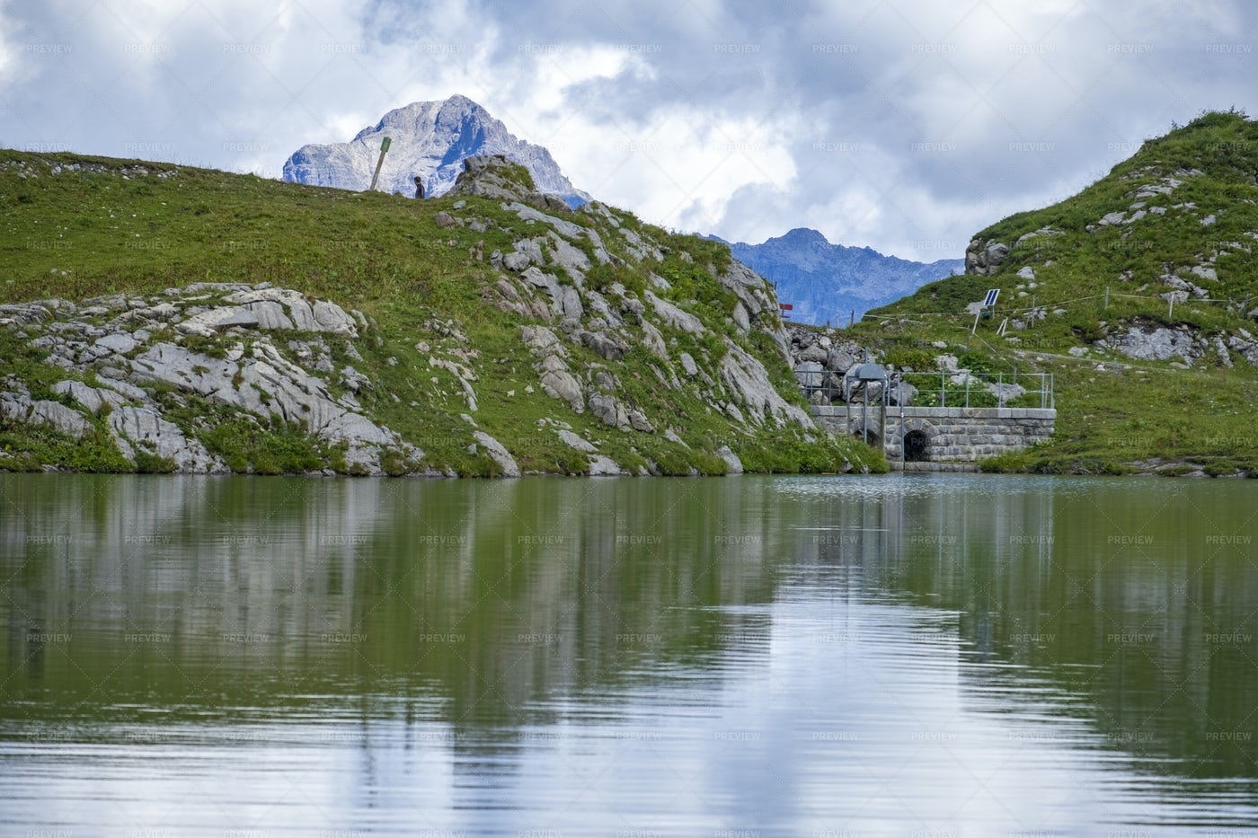 Reflections On Lake Zürs: Stock Photos