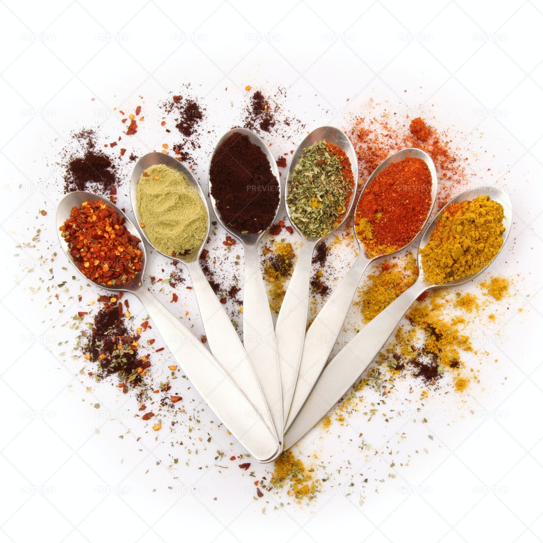 Spoons With Spices: Stock Photos