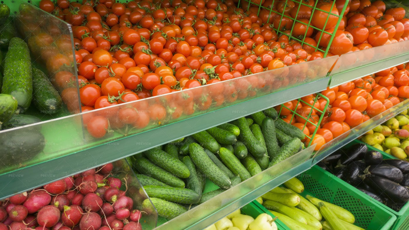 Vegetable Market Display: Stock Photos