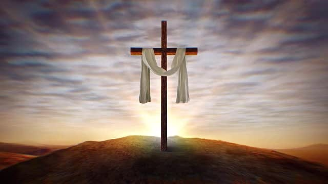 Christian Cross with Waving White Cloth at Sunset, Center: Stock Motion Graphics