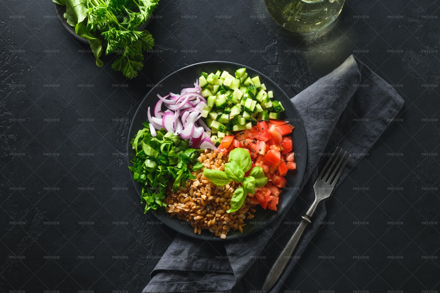 Spelt And Vegetables In Bowl: Stock Photos